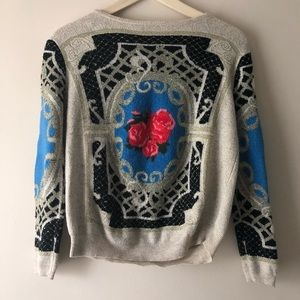 Sweaters - Ornate sweater with rose